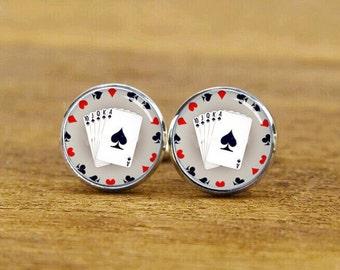 Playing Card Cufflinks, Personalized Cufflinks, Poker Card Cuff Links, Custom Wedding Cufflinks, Round, Square Cufflinks, Tie Clips, Or Set