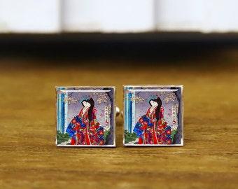 Cool japanese vintage lady geisha cufflinks, portrait art cufflinks, custom wedding cufflinks, round, square cufflinks, tie clips, or set