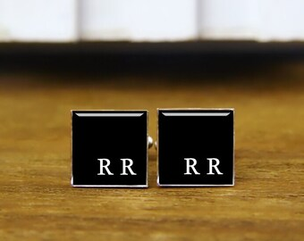 Monogram Cufflinks, Custom Personalized Initial Cufflinks, Round, Square Cufflinks & Tie Clips, Wedding Gifts, Monogram Square Cuff Links