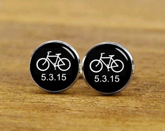Bike Cufflinks, Bicycle Cufflinks, Custom Wedding Cufflink, Custom Date Cufflinks, Groom Cufflinks, Round Square Cufflinks, Tie Clip or Set
