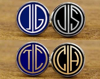 Customize Monogram Cufflinks, 1920s Style, Groom, Groomsmen Gifts, Custom Wedding Cuff Links, Vintage Cuff Links, Tie Tacks, Tie Clips, Gift