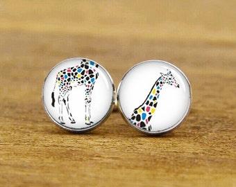 Giraffe Cufflinks, Colorful Giraffe Cufflinks, Custom Cufflinks, Wedding Cufflinks, Groomsmen, Groom Cufflinks, Tie Clip Or A Matching Set