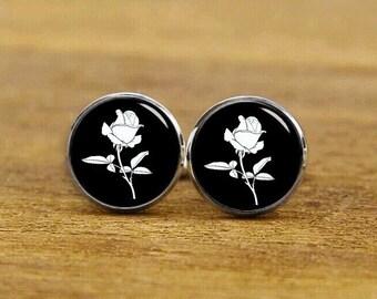 Art Nouveau Rose Cufflinks, Vintage Rose Cufflinks, Personalized Cufflinks, Custom Wedding Cufflinks, Round, Square Cufflink, Tie Clips, Set