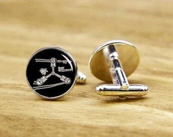 flux compression cufflinks, personalized cufflinks, Flux capacitor, Mens Silver Cufflinks, Physicals Cuff links, custom image cufflinks