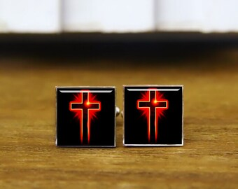 god cufflinks, custom cross cuff links, custom round or square cufflinks & tie clip, cross cufflinks, jesus christ cufflinks, jehovah gifts