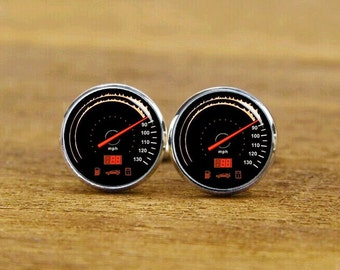 Race Car Speed Meter Cufflinks, Personalized Cufflinks, Car Speed Meter, Custom Wedding Cufflinks, Round, Square Cufflinks, Tie Clip, Or Set