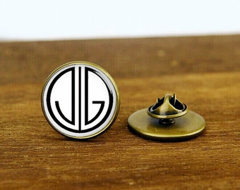 monogram initial tie tacks, 1920s film tie clip, custom wedding tie pins, round glass, square cufflinks, tie clip or a matching set