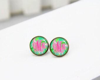 Monogram Stud Earrings, Charm Drop Earrings, Dangle Earrings, Personalized Initial Earrings, Monogram Earrings, Custom Fonts Earrings
