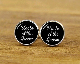 Uncle Of The Groom Cufflinks, Custom Wedding Cuff Links, Round Or Square Cufflinks & Tie Clips Set, Groom Cufflinks, Uncle Of The Bride Gift