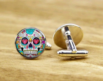 Hipster Cuff Links, Sugar Skull Cuff Links, Skull Gifts, Personalized Cufflinks, Custom Wedding Cufflinks, Round, Square Cufflinks, Tie Clip