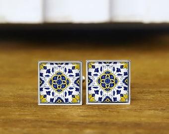 turkish Iznik cufflinks, Ethnic Floral Pattern, personalized cufflinks, custom wedding cufflinks, round, square cufflinks, tie clips, or set