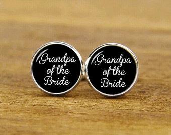 grandpa of the bride cufflinks, grandpa's little girl, custom personalized wedding cuff links, custom round or square cufflinks & tie clip