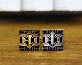 1920 film style cufflinks, custom 1920s 2 letters cuff links, round cufflink, square cufflinks, tie clips, wedding cuff link, groom gifts