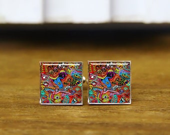 fantasy psychedelic cuff links, hallucinogens colors cufflinks, custom round or square cufflinks & tie clips, wedding cuff links gifts