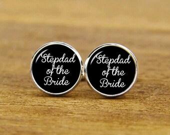 stepdad of the bride cufflinks, custom personalized wedding cuff links, custom round or square cufflinks & tie clip, groom cufflink, stepdad