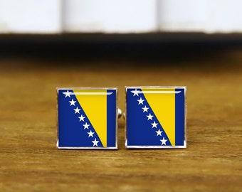 Bosnia Herzegovina Flag cufflinks, custom national flag cuff links, custom wedding cufflinks, round, square cufflinks, tie clips, or set