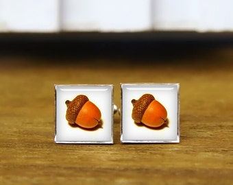 Acorn Cufflinks, Acorns Cuff Links, Custom Personalized Image Cufflinks, Custom Wedding Cufflinks, Round, Square Cufflinks, Tie Clips Or Set