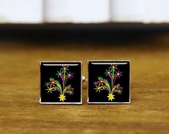 Fireworks cufflinks, fireworks cuff links, RocketMania, fireworks tie bar, custom wedding cufflinks, round, square cufflinks, tie clips, set