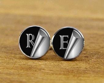 custom personalized cufflinks, custom initials, wedding cufflinks, initial tie tacks, custom monogram cuff links, groom cufflinks, tie clips