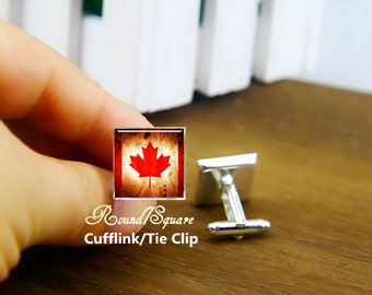vintage flag of Canada cufflinks, Canada's Flag cuff links, custom your country flag cufflink, custom round or square cufflinks & tie clip