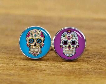 Hipster Sugar Skull Cufflinks, custom skull & background, personalized cufflinks, custom wedding cufflinks, round, square cufflinks, tie bar
