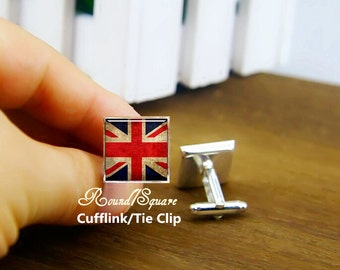 flag of the UK cufflinks, British flag cuff links, custom country flag cufflink, custom round or square cufflinks & tie clip, patriot Aigo