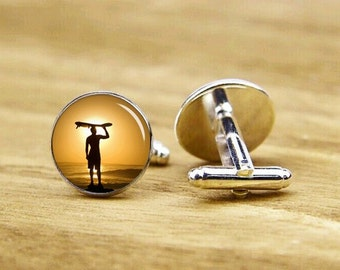 cufflinks, surfing cufflinks, gone surfing cuff links, beach and sunshine, custom wedding cufflinks, round square cufflinks, tie clip or set