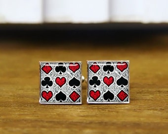 Playing Card Cufflinks, Playing Card Cuff Links, Poker Cufflinks, Custom Wedding Cufflinks, Round, Square Cufflinks, Tie Clips, Or Set