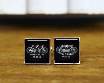 Tandem Bike Black cufflinks, custom name and date, tandem bike cuff links, custom wedding cufflinks, round, square cufflinks, tie clips, set