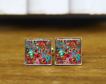 drugs mess psychedelic acid colors cufflinks, psychedelic cuff links, custom round or square cufflinks & tie clips, wedding cuff links gifts