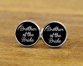 brother of the bride cufflinks, custom personalized wedding cuff links, custom round or square cufflinks & tie clips, groom cufflink for men