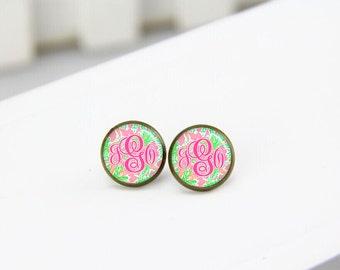 monogram initial earrings, drop earrings, dangle earrings, custom monogram, post stud earrings, initial earings, bridesmaid earrings, lilly