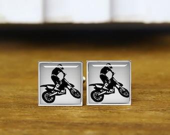 motocross cufflinks, motorbike, motocross rider, personalized cufflinks, custom wedding cufflinks, round, square cufflinks, tie clips,  set