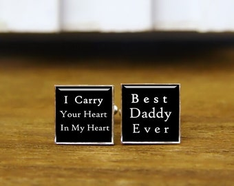 Square Cufflinks, I Carry Your Heart In My Heart, Best Daddy Ever, Round, Square Cufflinks & Tie Clips, Wedding Monogram Square Cuff Links