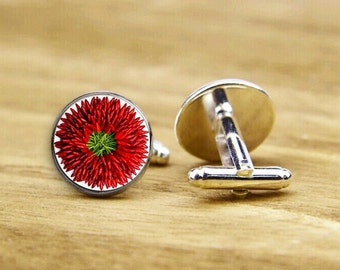 Red Hot Hanging Chili Peppers Cufflinks, Chili Cuff Links, Hot Pepper, Custom Wedding Cufflinks, Round, Square Cuff Links, Tie Clips Or Set