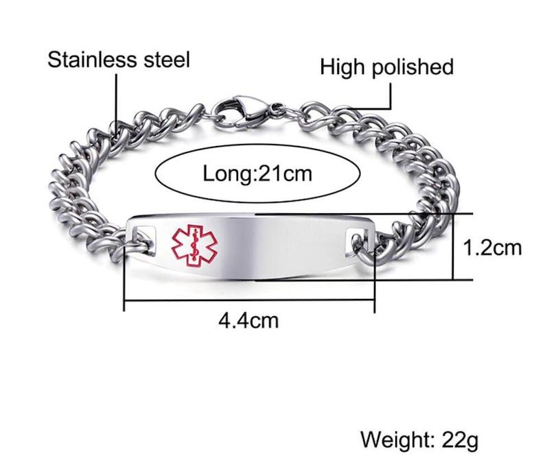 Engraved Medical Alert ID Bangle Personalized Stainless Steel Medical ID Bracelet Custom Medical Emergency Bracelet Medical ID Bracelets