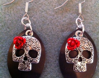 Sugar Skull Earrings with Black Scales and Red Roses
