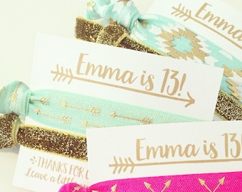 Boho Birthday Party Hair Tie Favors | Gold, Mint + Pink Boho Arrow Hair Tie Favors, Bohemian Birthday Party Favors, Teen Tween Girl Birthday