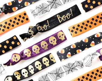 YOU CHOOSE | Halloween Print Elastic Hair Ties, Halloween Peanut Free Handouts, Allergy Friendly Kids Party Gift Favors, Halloween Costume