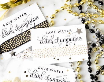 Champagne Hair Tie Favors | Gold 30th Birthday Hair Tie Favor, 30th 40th 50th Birthday Party Favors, Champagne Campaign Bachelorette Favors