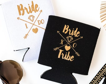 Bride Tribe Bottle Coolers | Boho Bachelorette Party Favors, Black + Gold Arrow Bride Tribe Can Cooler Favors, Black Beer Bottle Can Holders