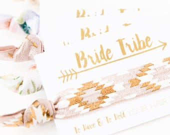 YOU DESIGN Bride Tribe Hair Tie Favors | Bohemian Bachelorette Party Favors, Boho Bachelorette Favors, Bridesmaid Gift, Gold Foil Hair Ties