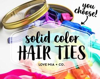 YOU CHOOSE | Solid Color Elastic Hair Ties, Bulk Wholesale Assorted Solid Color Hair Ties, Creaseless Elastic Hair Ties by Love Mia + Co.