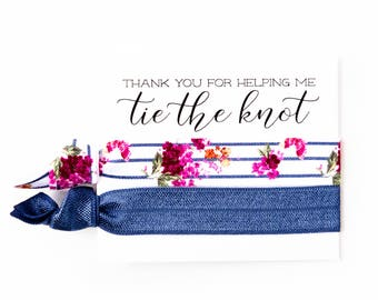 Navy Blue Hair Tie Bridesmaid Gift | Navy Blue Floral Hair Tie Favor, Nautical Bridal Shower Favor, Wedding Shower Favor, Bridesmaid Gift