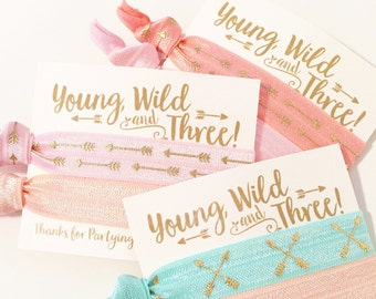 Young Wild & Three Birthday Party Hair Tie Favors | Boho Birthday Party Hair Tie Favors, Bohemian Feather Arrow Aztec Tribal Print Hair Ties