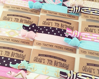 Girls Birthday Party Hair Tie Favors | Pink Aqua Black + Teal Birthday Party Hair Tie Favors, Personalized Party Favors, Cute Custom Favors