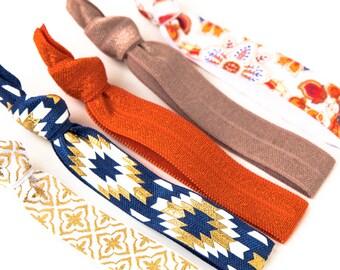 Moroccan Sunset Hair Tie Set | Orange + Navy Aztec Creaseless Elastic Hair Ties, Boho Hair Tie Set, Desert Blue Tribal Gold Hair Ties