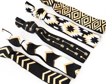 Black + Gold Tribal Hair Tie Set | Creaseless Elastic Hair Ties, Neutral Black + Gold Print Hair Ties, Friend Coworker Teen Birthday Gift