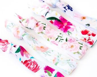 Watercolor Floral Hair Tie Set | Rose, Magenta + Peach Floral Creaseless Elastic Hair Ties, Vintage Floral Print Hair Ties, Flower Hair Ties