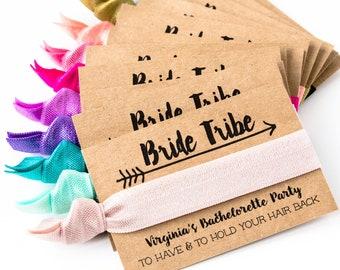 Bride Tribe Hair Tie Favors | CHOOSE YOUR COLORS, Boho Bachelorette Party Hair Tie Favors, Custom Hair Tie Favors, Personalized Bach Favors
